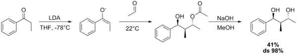 Aldol–Tishchenko reaction starting from propiophenone and acetaldehyde