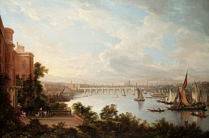 Adelphi, London - A prospect of London by Alexander Nasmyth, 1826. The Adelphi buildings can be seen to the left of Waterloo Bridge.