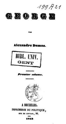 Alexandre Dumas George Imprimerie du politique 1843