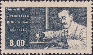 "Álvaro Alvim - Alvaro Alvim, radiologist, the ""martyr of science"". Brazil. 1963. Postage stamp."