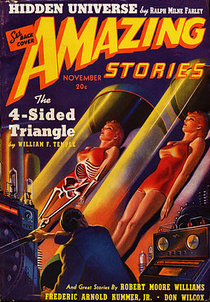 William F. Temple - Temple's novelette The Four Sided Triangle, later expanded to a novel and adapted as a feature film, was the cover story of the November 1939 issue of Amazing Stories