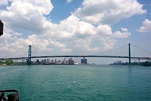 Ambassador Bridge, between Windsor Ontario and...