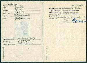 Amtsdokument Paul Fischer 1942-11-18 Hauptmann Deutsches Reich Luftfahrerschein für Segelflugzeugführer Seite 03 und 04 Ausweis Nr. 1498 Luftamt Hamburg Beschränkung.jpg