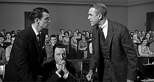 "Anatomy of a Murder - ""This is a cross examination in a murder case, not some high school debate!"" Brooks West (left) and James Stewart (right) face one another, as George C. Scott (center) looks on"