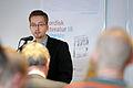 Anders Juhl Rasmussen en av redaktorerna till Nordisk litteratur til tjeneste talar vid lanseringen av boken pa Sorte diamant i Kopenhamn 2008-03-05.jpg