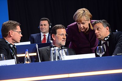 European People's Party (EPP) Congress in Bucharest in 2012, whose three conservative leaders in the EPP included Prime Minister of Spain Mariano Rajoy (2011-2018), Chancellor of Germany Angela Merkel and Prime Minister of Hungary Viktor Orban Angela Merkel (9307204896).jpg