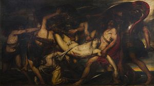 The Greeks and the Trojans Fighting over the Body of Patroclus - Image: Antoine Wiertz The Greeks and the Trojans Fighting over the Body of Patroclus, 1836, BAL