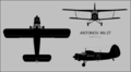 Antonov An-2T three-view silhouette.png