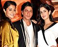 Anushka Sharma, Shahrukh Khan and Katrina Kaif at the press conference for JAB TAK HAI JAAN.jpg