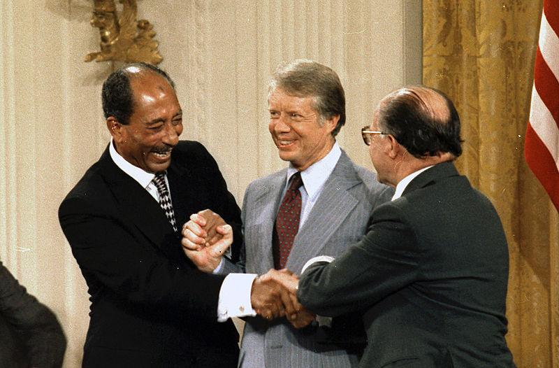 Anwar Sadat Jimmy Carter Menachem Begin sign Camp David Accords-1978.jpg