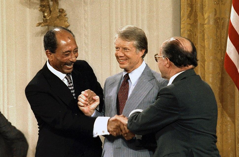 Anwar Sadat Jimmy Carter Menachem Begin sign Camp David Accords-1978