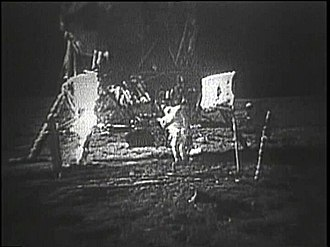 Moon landing conspiracy theories - Photo of the degraded image after the SSTV scan conversion