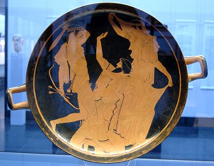 Apollo slaying Tityos, Attic red-figure kylix, 460-450 BC Apollo Tityos Staatliche Antikensammlungen 2689.jpg