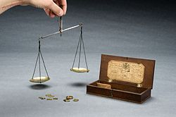 Apothecary's balance with steel beam and brass pans in woode Wellcome L0058880.jpg