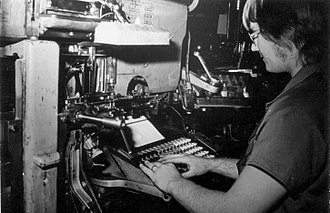 The Queensland Times - An apprentice Linotype operator at The Queensland Times in 1975.