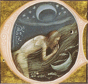 The Golden Ass - Lucius takes human form, in a 1345 illustration of the Metamorphoses (ms. Vat. Lat. 2194, Biblioteca Apostolica Vaticana).