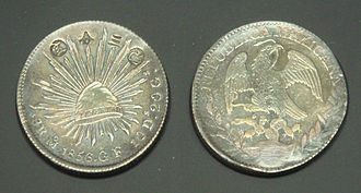 "Peso - A Mexican dollar used as Japanese currency, marked with ""Aratame sanbu sadame"" (改三分定, ""Fixed to the value of 3 bu""), 1859."