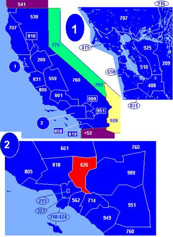 Map of California area codes in blue (and border states) with 626 in red