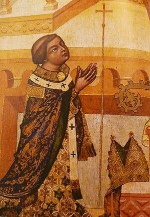 Madonna of Kłodzko - detail:Arnošt of Pardubice