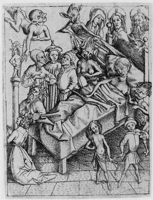 Ars moriendi - Temptation of lack of Faith; engraving by Master E. S., circa 1450
