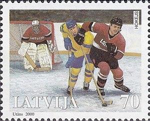Sandis Ozoliņš - Ozoliņš (right) on a 2000 stamp of Latvia