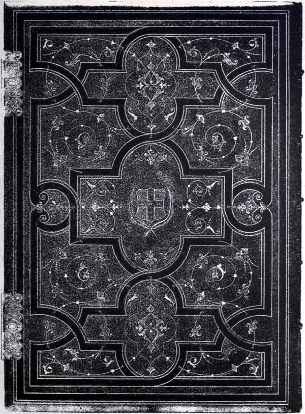 Photo-lithograph of a book cover with Grolier finishing.