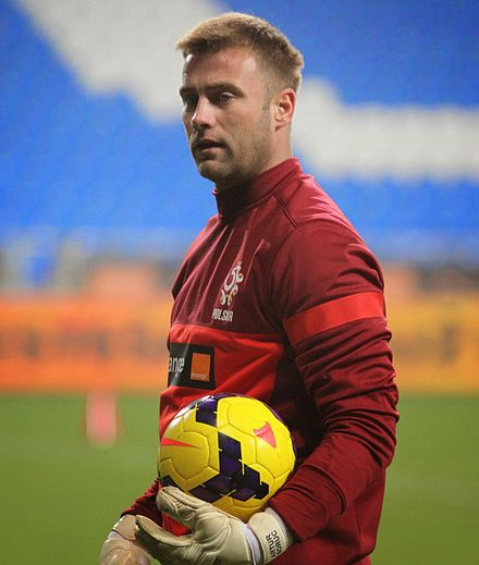 Artur Boruc, goalkeeper for Poland from 2004 to 2017, who made 65 appearances during his international career. ArturBoruc.jpg