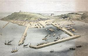 Arwenack - Aerial view circa 1870 from north-east of estate of Arwenack: left on top of hill: Pendennis Castle, built on land belonging to the Killigrew family. Right: Arwenack House. Centre: the developing harbour and town of Falmouth