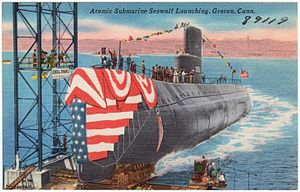 USS Seawolf (SSN-575) - Postcard showing launch
