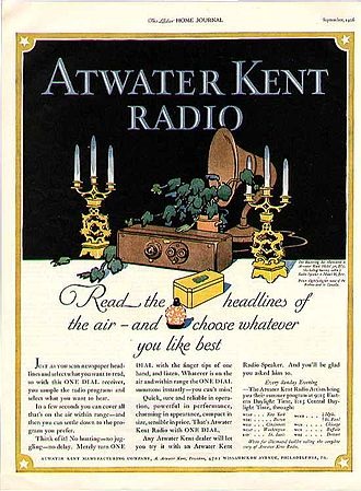 A. Atwater Kent - Ad for an Atwater Kent Radio receiver in the Ladies' Home Journal (September, 1926)