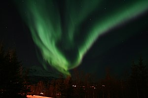 Aurora Borealis as seen from Laberg, Salangen,...