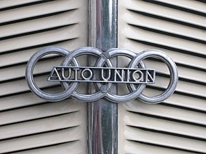 Auto Union - The 1949–1969 version of the Auto Union four ring logo, which survives as the logo of Audi.