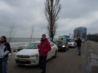AutoMaidan - An AutoMaidan procession in Odessa on 25 January 2014