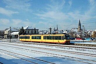 Kraichgau Railway - Stadtbahn train in Eppingen in December 2005