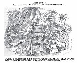 "Henry De la Beche - De la Beche's well-known caricature ""Awful Changes"""