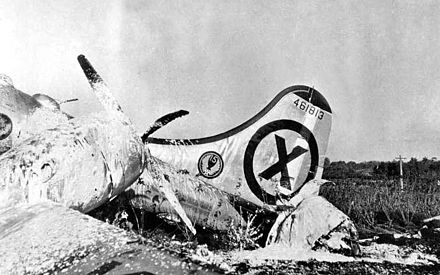 A photo-reconnaissance B-29 that crashed on final approach to Iruma Air Base, Japan, after an attack by MiG-15 pilot Major Bordun over the Yalu River. Five crew died. The tail gunner claimed to have shot down a MiG, but both attacking MiGs returned to base (November 9, 1950) B-29-44-61813-shotdown.jpg