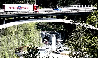 Brenner Base Tunnel - BBT construction site in Sill river seen from Bergisel in April 2011