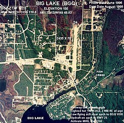 Aerial photograph of Big Lake in 1996