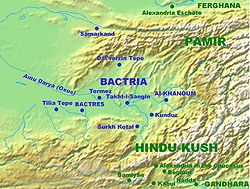 Alexandria in the Caucasus is located to the south of Bactria, in the mountains of the Hindu Kush.