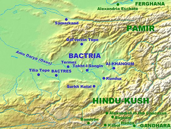 Hindu Kush relative to Bactria, Bamiyan, Kabul and Gandhara (bottom right). BactriaMap.jpg
