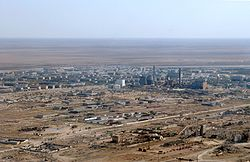 An aerial view of Baikonur
