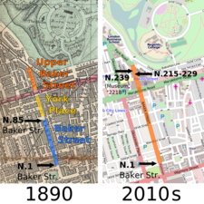 Maps of Baker Street in London in 1890 and today