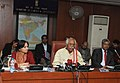 Bandaru Dattatreya briefing the media, in New Delhi on January 06, 2015. The Secretary, Ministry of Labour and Employment, Smt. Gauri Kumar is also seen.jpg