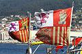 Banderas de tajamar en la proa de dos lanchas de instrucción modelo Rodman 66 de la Armada Española (14717148525).jpg