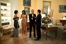 Matteo Renzi con la moglie Agnese Landini e i coniugi Obama nel 2016.