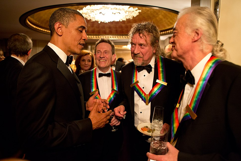 Barack Obama speaks to Led Zeppelin
