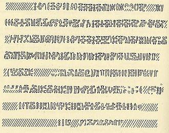 Rongorongo text R - Image: Barthel Ra