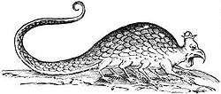 Woodblock print of a basilisk from Ulisse Aldrovandi, Monstrorum historia, 1642
