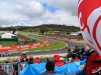 Bathurst 1000 - The first corner at Mount Panorama, known as Hell Corner.