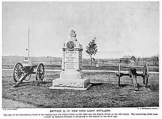 Baldwinsville, New York - Monument to the 1st Regiment, Battery B at Gettysburg (1901 photo)
